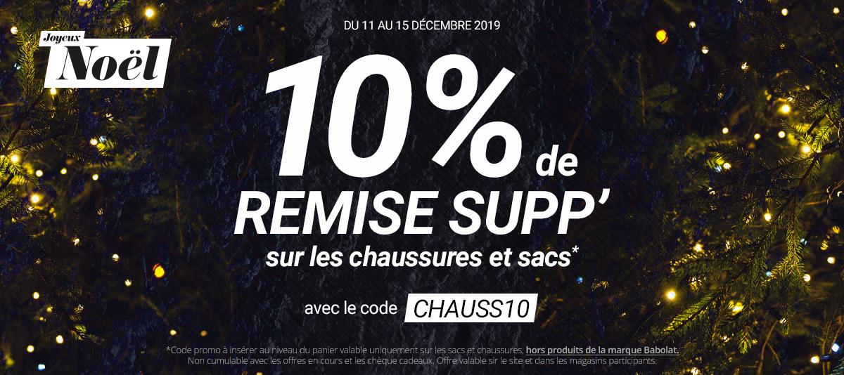 Noël - 10% sur les chaussures et les sacs (hors produits Babolat)