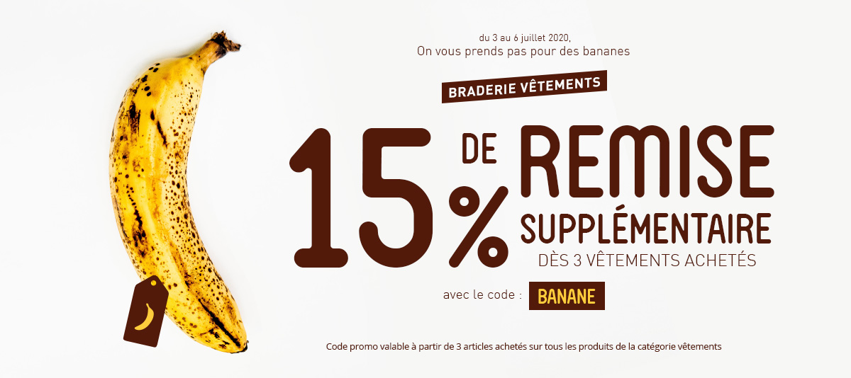 15% de remise supplémentaires dès 3 vêtements achetés !