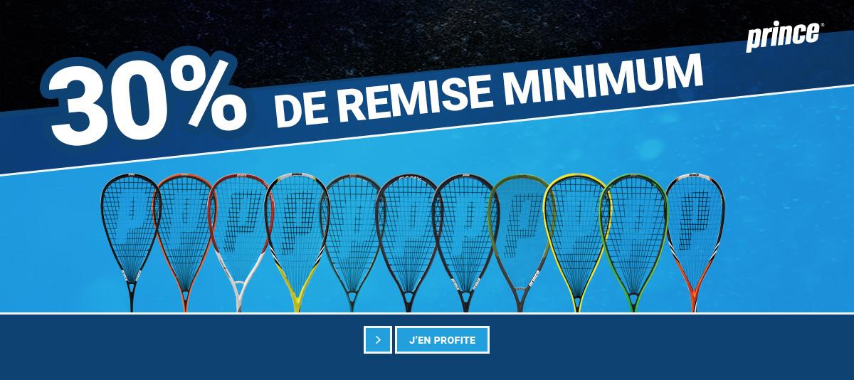 30% de remise minimum sur les raquettes de squash Dunlop