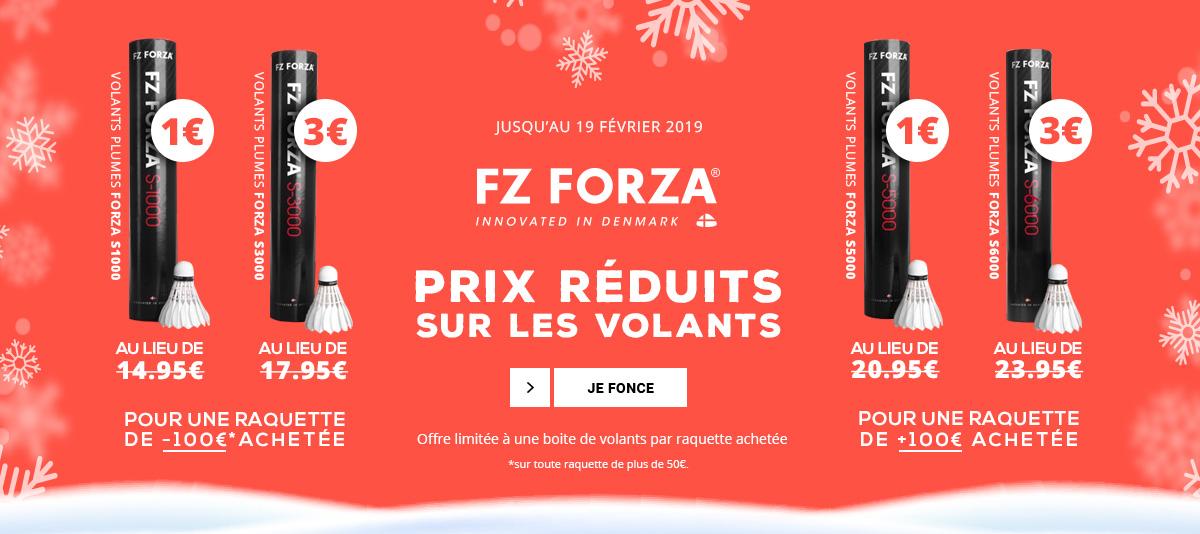 Offre sur les raquettes de badminton Forza à plus de 50€