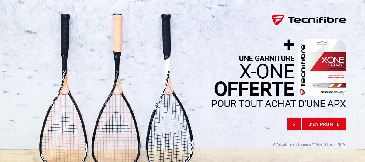 Garniture X-One offerte pour raquette squash Tecnifibre Dynergy APX