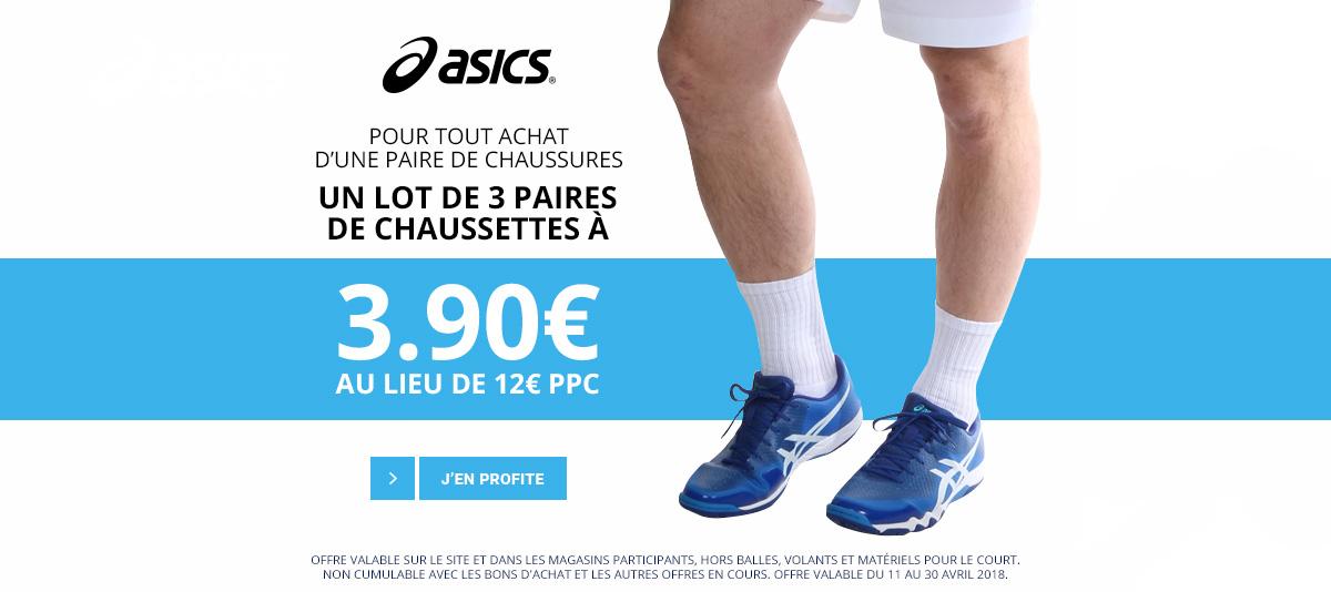 1 lot de 3 paires de chaussures à 3.90€ pour un achat d'une paire Asics