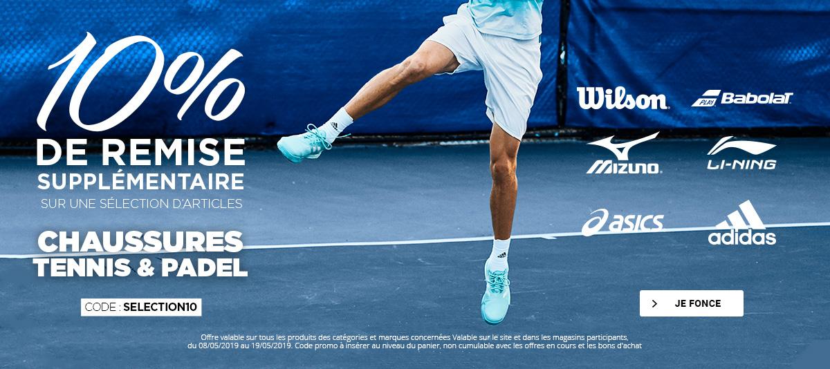 10% sur notre sélection de chaussures de tennis