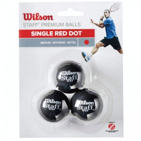 BALLES DE SQUASH WILSON STAFF (X3 - SIMPLE POINT ROUGE)