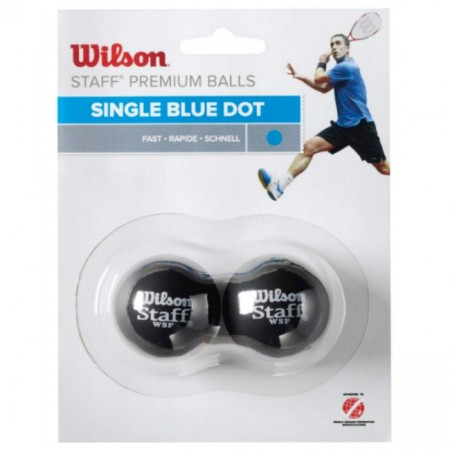 BALLES DE SQUASH WILSON STAFF (X2 - SIMPLE POINT BLEU)
