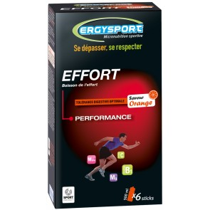 6 STICKS ERGYSPORT POUR BOISSON D'EFFORT 30G - ORANGE