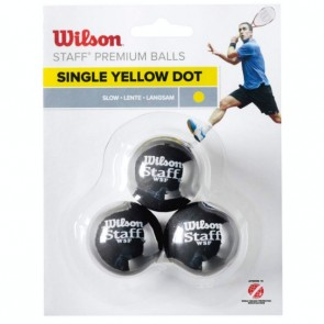 BALLES DE SQUASH WILSON STAFF (X3 - SIMPLE POINT JAUNE)