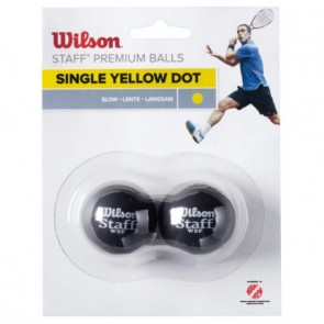 BALLES DE SQUASH WILSON STAFF (X2 - SIMPLE POINT JAUNE)