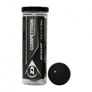 BALLES DE SQUASH DUNLOP COMPETITION (TUBE X3 - SIMPLE POINT JAUNE)