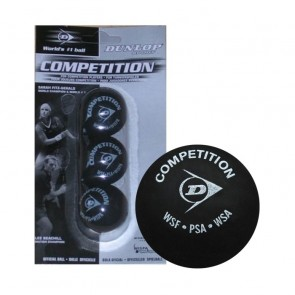 BALLES DE SQUASH DUNLOP COMPETITION (X3 - SIMPLE POINT JAUNE)