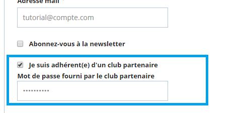 Adhérent d'un club partenaire