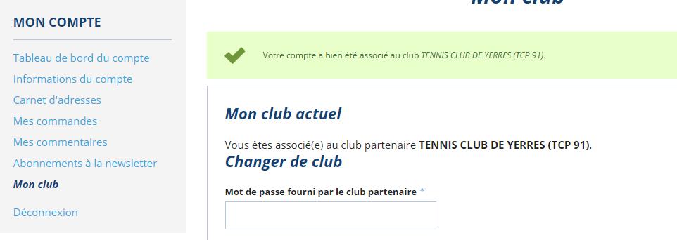 Club partenaire validé