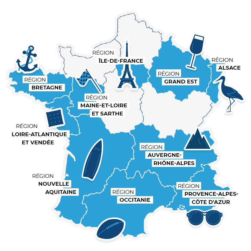 Carte des secteurs du LS Tour
